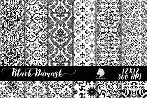 Black Damask on White Paper Pack