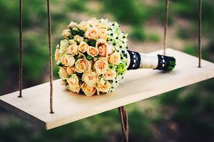 A wedding bouquet of roses