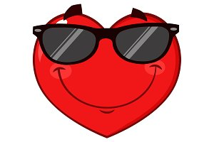 Smiling Red Heart Wearing Sunglasses