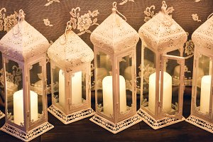 Candles in decorative lanterns