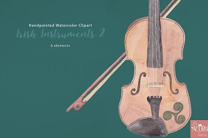 Watercolor Clipart Irish Instruments