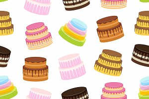 Seamless pattern with cakes