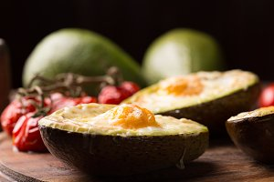 baked avocado stuffed with egg