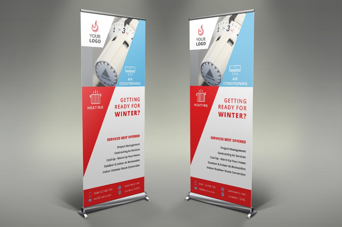 Heating Services Roll Up Banner #085 ~ Presentation Templates ...