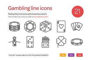 Gambling Line Icons Set