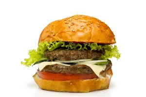 Burger on white background