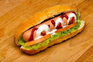 Hot-Dog on a wooden background