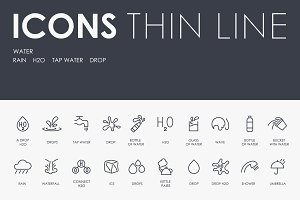 Water thinline icons