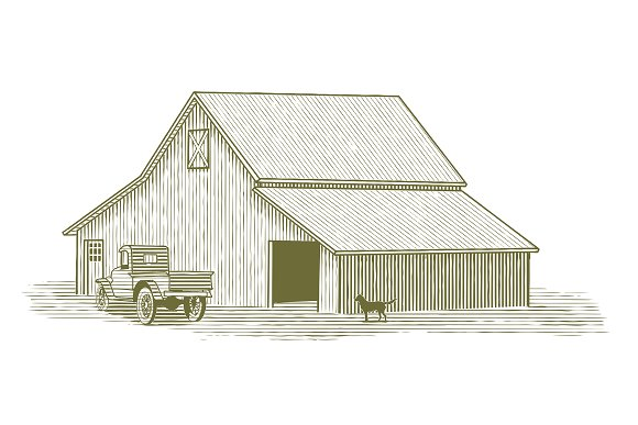 Woodcut Truck And Barn