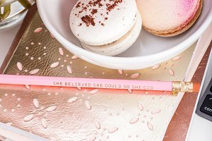 Pink macarons office stock photo