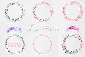 Laurels & Roses Wreaths Clipart