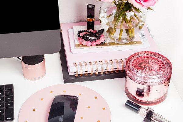 Pink desktop office styled photo 60
