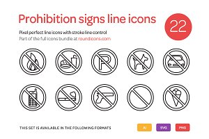 Prohibition Signs Line Icons Set
