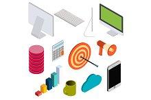Business isometric elements set