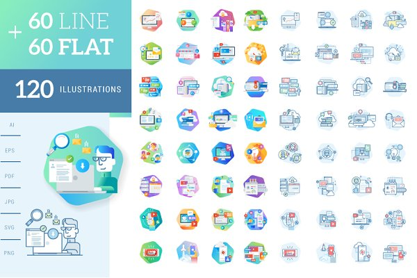 Flat and Line Concept Icons