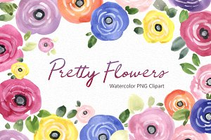 Pretty Watercolor Summer Flowers PNG