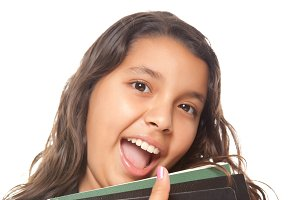 Hispanic Girl, Books and Backpack