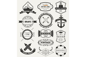 Vintage Insignias / logotypes set. V