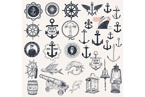 Vector. Set of nautical elements