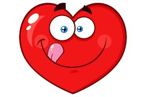 Hungry Red Heart Cartoon Character