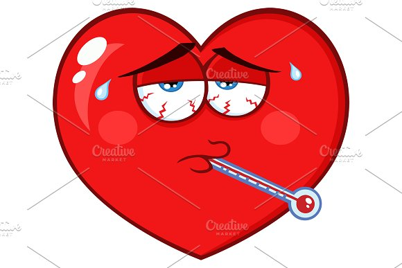 Sick Red Heart With Tired Expression