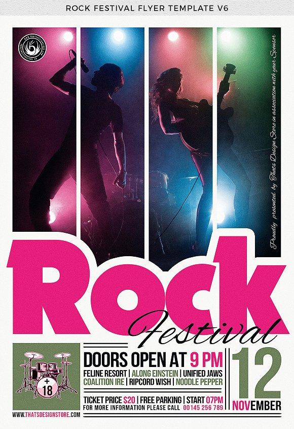 rock festival flyer template v6 flyer templates creative market