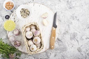 Garlic, salt, herbs: ingredients for