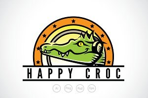 Happy Crocodile Logo Template