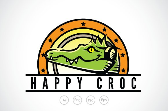 happy crocodile logo template logo templates creative market