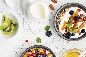Breakfast, rice porridge or natural