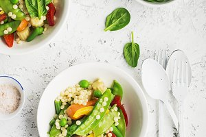 Pearl couscous with fresh vegetables