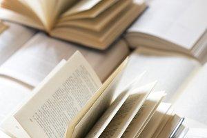 Open books. Copy space
