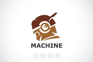 Robot Machine Logo Template