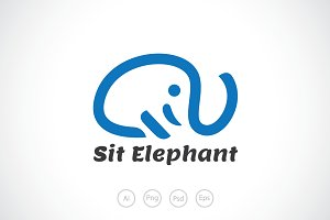 Sit Elephant Logo Template