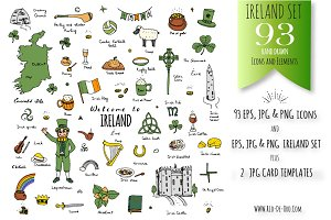 93 Ireland color hand drawn symbols!