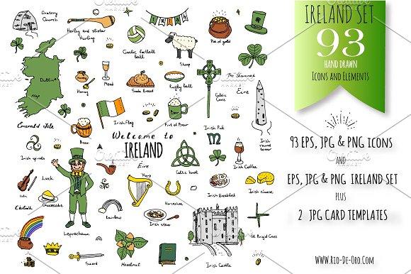 93 Ireland Color Hand Drawn Symbols