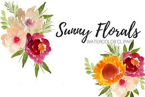 Watercolor Sunny Floral Clipart