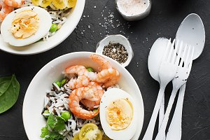 Shrimp wild rice and basmati bowl wi