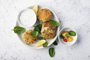 Quinoa ricotta spinach fritters on a