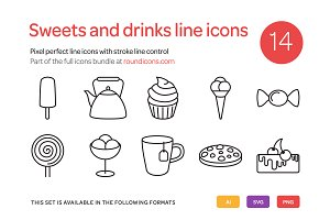 Sweets and Drinks Line Icons Set