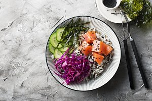 Salmon cucumber wild rice red cabbag