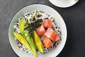 Salmon Sashimi Rice Bowl with Avocad