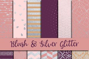 Blush & Silver Glitter Digital Paper