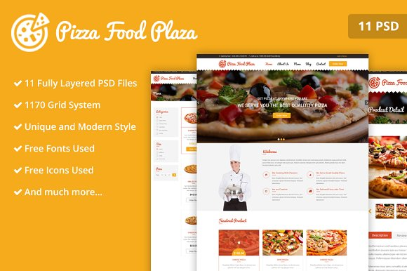 Pizza Food Plaza PSD Web Template