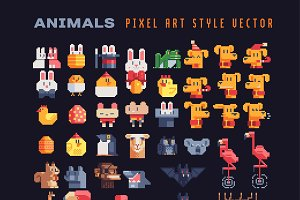Animals characters pixel art set.