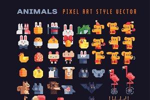 Animals characters pixel art set.