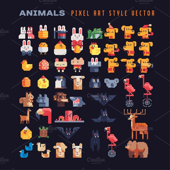Animals Characters Pixel Art Set