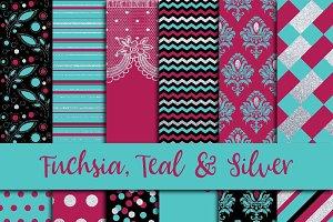 Fuchsia, Teal & Silver Digital Paper