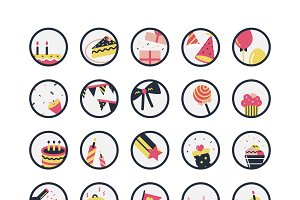 Illustration set of birthday icons