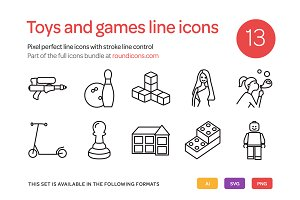 Toys and Games Line Icons Set